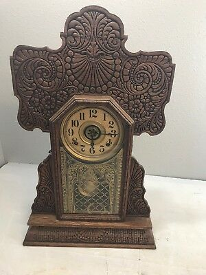 "Beautiful Antique Gingerbread Clock w/ 2 Keys and Pendulum 23.75"" Tall"