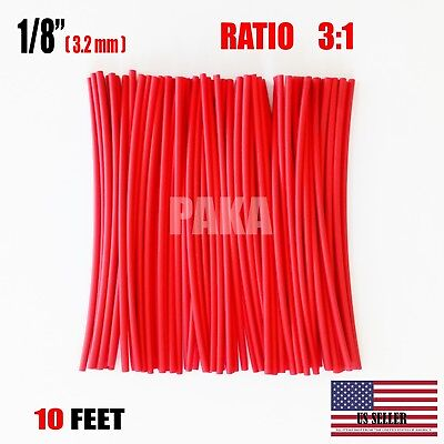 """10 FEET - 1/8"""" / 3.2mm RED 3:1 Heat Shrink Tubing Adhesive Lined Dual Wall"""