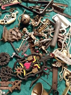 junk drawer lot of Hardware cast iron trivets plus much more old items