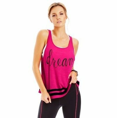 LORNA JANE Pink Print DREAM Top - Size M - FREE Postage