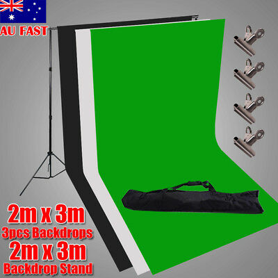 Photography Studio 3Pcs Backdrop Heavy Duty Background Support Stand 4 Clamp Kit