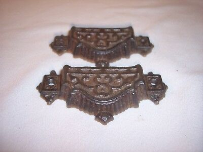 Lot of 2 Antique Vintage Art Deco Eastlake Victorian Metal Drawer Pulls Ornate B