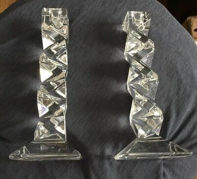 Pair Intricate Mid Century Mod Heavy Crystal Glass Candlestick Holders