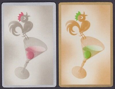 2 Single VINTAGE Swap/Playing Cards ROOSTER BIRDS ON GLASS ID 'COCKTAIL BI-8-93'