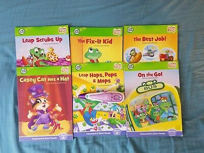 Leap Frog Leap Reader Tag Reading System, 8 HB & 6 PB Books Purple Pen No Cable