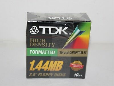 "TDK 1.44MB 3.5"" FLOPPY DISKS BRAND NEW SEALED 10pcs"