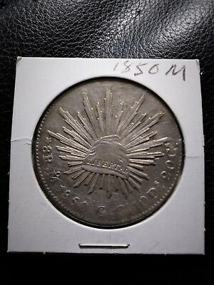 Mexico 8 Reales 1850 Mo GC Silver Minted in Mexico City, MX First Republic Coin