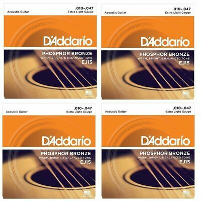 4 Pack D'Addario EJ15 Phosphor Bronze Extra Light Acoustic Strings