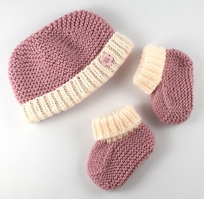 Hand Knitted Baby Beanie Hat And Bootees Mauve Gift Set Handmade In Australia