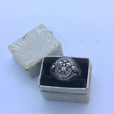 Genuine Antique Vintage WWII US ARMY Officer Sterling Silver Locket Poison Ring