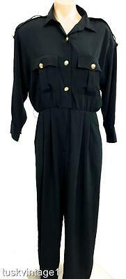VINTAGE BLACK silky MILITARY gold tone buttons pocket pleat pants JUMPSUIT 12 14