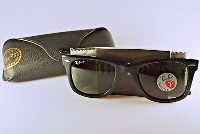 308a11e0f9 Ray-Ban Wayfarer Sunglasses RB2140F 901 58 Black Green Polarized lens 52-