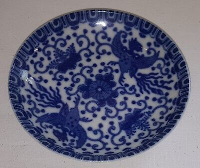 Chinese blue & white vintage Art Deco oriental antique dragon design small dish
