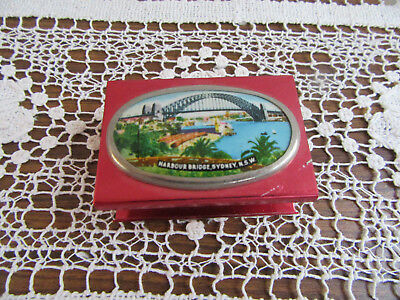 Vintage Matchbox Annodised Metal Case Holder – Sydney Harbour Bridge Nsw