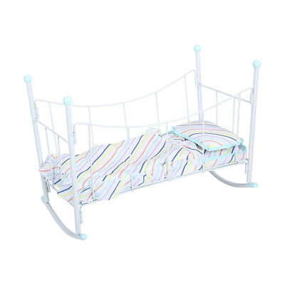 Striped Doll Cradle Baby Bed Pretend Kids Toy Girls Rocker Cot Crib Play Set