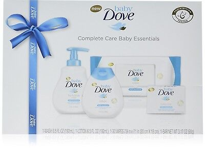 Baby Dove Complete Care Baby Essentials Beautiful Gift Set for Girl or Boy 4 pc