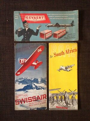 Lot Depliants Aviation Civile Voyages Boac 50's - Swissair 1934 - Sabena 1958 .