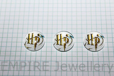 2 x Harry Potter Logo & Snitch 12x12mm Glass Cabochons Cameo Dome Hogwarts Quidd
