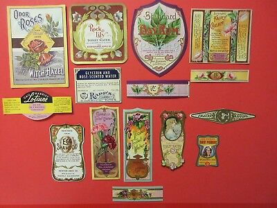 15+Old Cosmetic Beauty Antique Medicine Bottle Labels=Lotions=Real Nice Lot==