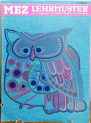 Retro Mez Lehrmuser embroidery booklet - Owl and Abstract designs