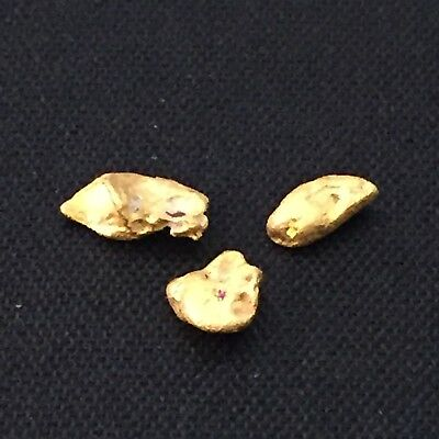 Gold nuggets x 3, total weight 0.98 grams (Australian natural)
