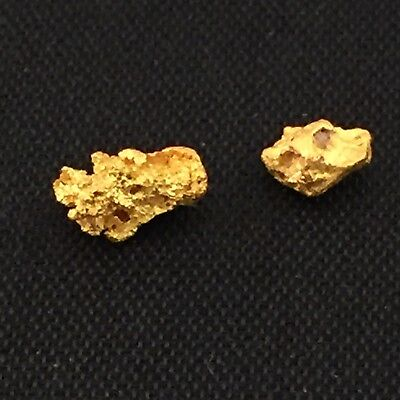 Gold nuggets x 2 , combined weight 0.77 grams (Australian natural)