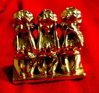 Antique Brass 3 Wise Monkeys Vintage Ladies  Paperweight See Speak Hear No Evil