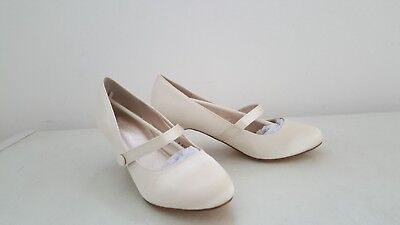 Ladies New White/ivory Satin Bar Court Shoes Size 5 Bridal,small Heel