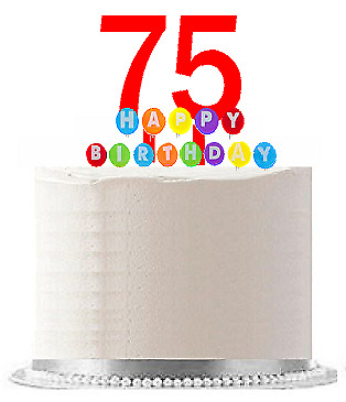 Item075 Happy 75th Birthday Party Red Cake Topper Rainbow Candle
