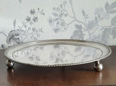 An Antique Silver Plated Tray with Large Ball Feet & Ribbed Rim