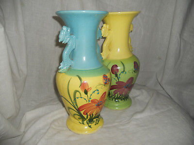Pair of Large Yellow, Green and Blue  Baluster Vases Chinese Dog Handles bargain