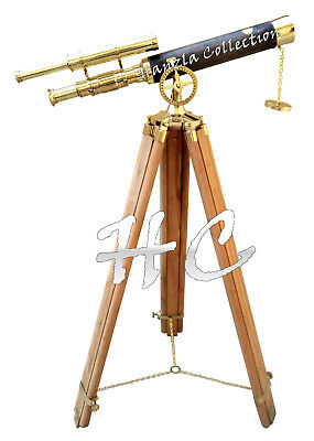 """Marine Navy Brass Nautical Double Barrel Telescope 40"""" With Wooden Tripod Stand"""