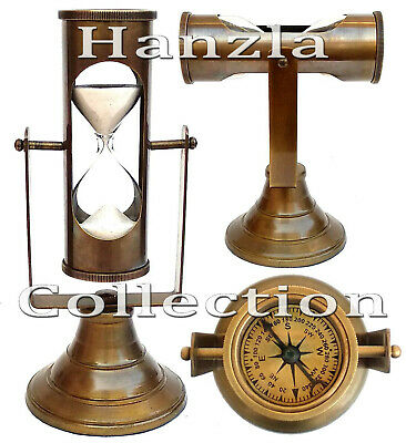 "7.5"" Brass Hanging Sand Timer Antique Compass Top Hour Glass 3 Mint Sand Clock"