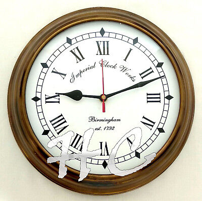Antique Brass Birmingham Nautical Est 1792 Ship's Vintage Wall Clock Working 10""