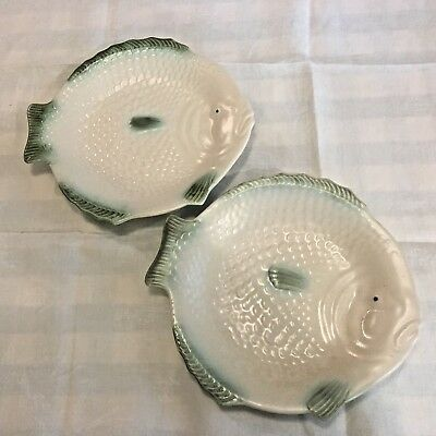 """2 x Matching Large 10"""" Cream & Green Fish Plates  by Shorter & Sons, Stoke"""