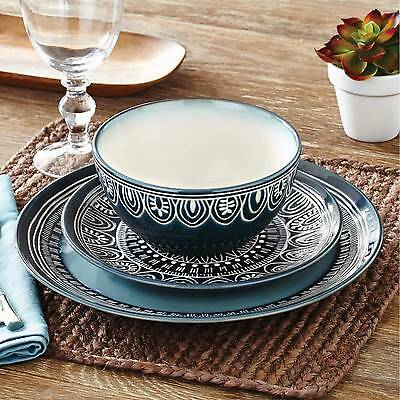 24-PIECE STONEWARE DINNERWARE Set Service for 8 Dinner Dishes Plates ...