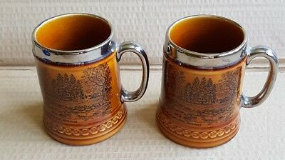Lord Nelson Pottery Tankards x 2 Badgers Holt Dartmeet