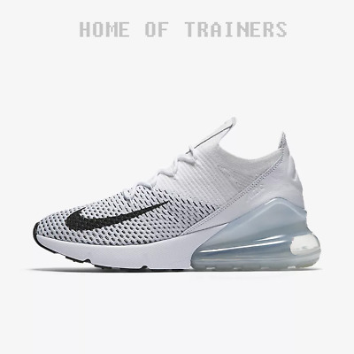 check out 3891b c7681 Nike Air Max 270 Flyknit White Pure Platinum Black Girls Women s Trainers