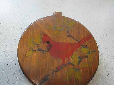 Vintage Pyrography Wood Burning Painted Cardinal Holly Christmas Plaque Round