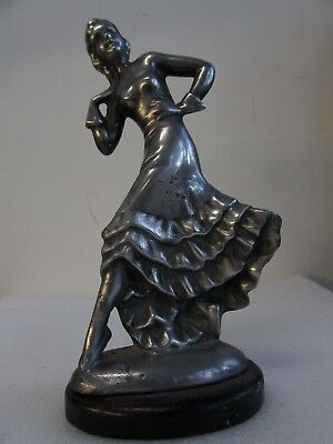 Antique Pewter Spelter Art Deco Decorative Diana Dancing Lady Statue Wooden Base