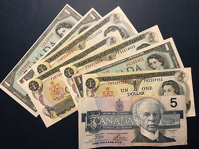LOT Canada: $1, $5 Dollars, EIGHT VF to XF+ Banknotes, No Reserve