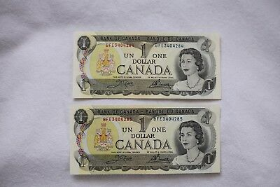 Two UNC 1973 $1 notes, sequential BFE340484/5
