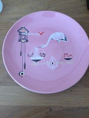 Wade Baby's Plate to Record Baby's Birth Details.Pink.Retro Design/1960s.Boxed.