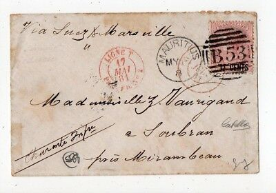 1881 Mauritius To France Cover, Red Paquebot Cancel, Scarce Stamp !!!