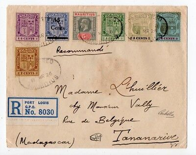 1926 Mauritius To Madagascar Reg Cover, 7 Colors Franking, Mixed Issues