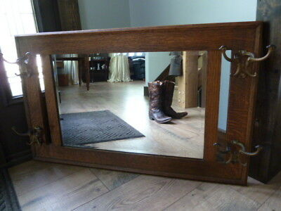 Antique Hat Hook Stickley Guaranteed Label Red Bear Mission Arts Crafts Mirror