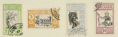 Tongah Islands set of four stamps perf. and used, on old page, interesting