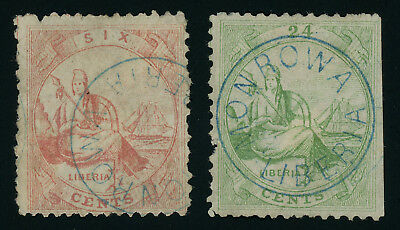 Liberia 1866 first issue 6c red and 24c green used, SC 13, 15, some faults, rare