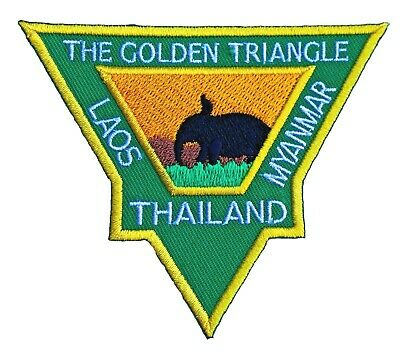 The Golden Triangle Patch (3.5 Inch) Iron On Badge Thailand Laos Myanmar Trek
