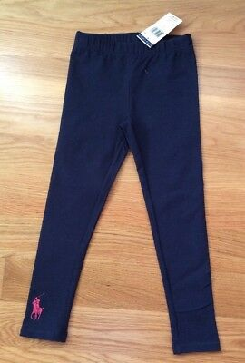 NWT~~Girls Ralph Lauren Pull On Cotton Spandex Navy Leggings Pants Size~ 5